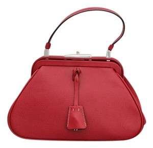 Prada B11232 Madras Top Handle Satchel in Red