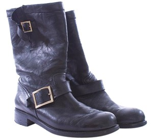 Jimmy Choo Motorcycleboot Leather Lug Sole Gold Hardware Black Boots