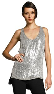 Diane von Furstenberg High-low Hem Sequins Top Black Silver