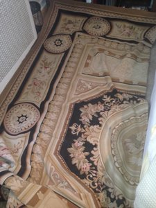 Authentic Hand Knotted Aubusson French Rug