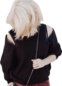 Drifter Crop Hi Lo Turtleneck Mock Turtleneck Open Shoulder Exposed Shoulder Sweatshirt