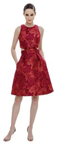 Theia Floral Jacquard Cut-out Gown A-line Dress
