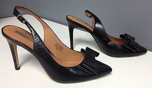 Halogen Leather Pointy Toe Top Studded Bow Sling Heels B3285 Black Pumps