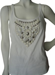 Soft Surroundings Beaded Embellished With Beads With Bra Support Top white