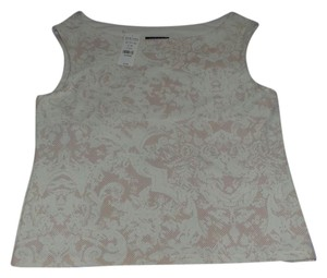 New York & Company Soft Casual Top White with Pale Pink Design