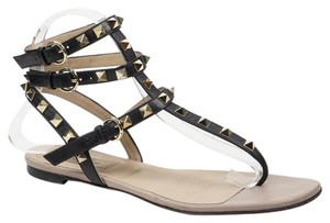 Valentino Rockstud 37.5 Gladiator Black Sandals