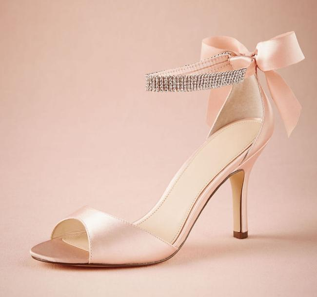Item - Blush Stiletto Sandal Gems Crystal Bow Heels Formal Size US 9 Regular (M, B)