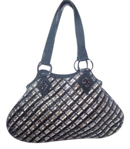 Inge Sport Dressy Or Casual Satchel in grey, white, brown, & black woven leather