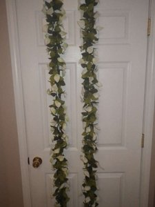 Michaels Green and Ivory Floral Garland- Lot Of 2 Ceremony Decoration