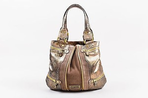 Jimmy Choo Suede Gray Python Leather Ghw Zipper Mona Tote in Brown