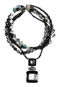 Black Sterling Silver Crystal Bead Tahitian Pearl Strand Pendant Necklace