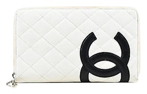 Chanel Chanel White Quilted Lambskin Leather Black Cc Stitched Ligne Cambon Wallet