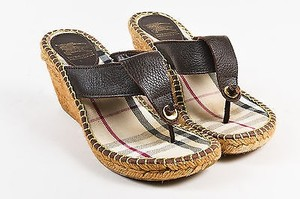 Burberry Leather Toe Brown Sandals