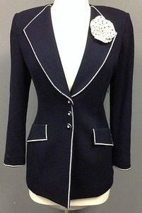 St. John St John Collection Navy Wool White Floral Button Front Blazer Sma 7773