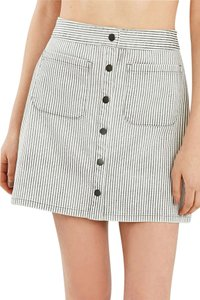 BDG Button A Line Stripe Mini Skirt Light Grey