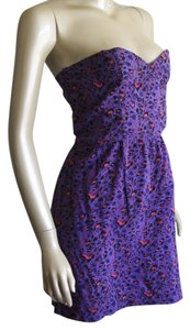 Cotton On short dress Purple, Pink, Leopard Print Strapless Short Stretchy on Tradesy