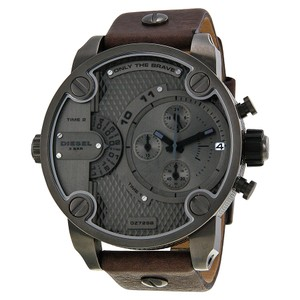 Diesel Diesel Only The Brave Chronograph Dual Time Zone Dial Brown Leather Mens Watch