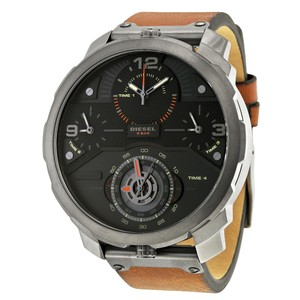 Diesel Diesel Machinus Chronograph Four Time Zone Dial Brown Leather Mens Watch
