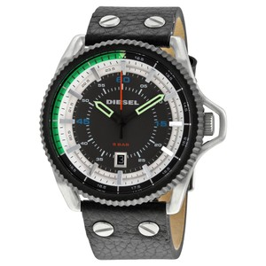 Diesel Diesel Rollcage Exposed Grey And White Dial Black Leather Mens Watch