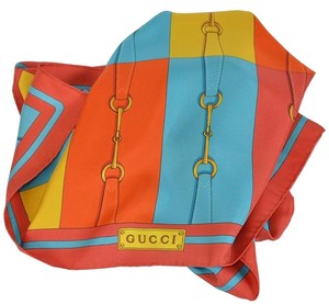 Gucci Gucci Women's Gold Turquoise Colorblock Horsebit Belt Silk Neck Scarf