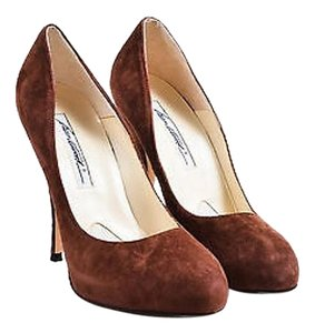 Brian Atwood Almond Toe Platform Brown Pumps