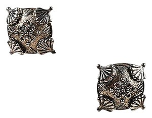 Jay Strongwater Jay Strongwater Silver Tone Metal Textured Design Clip On Earrings