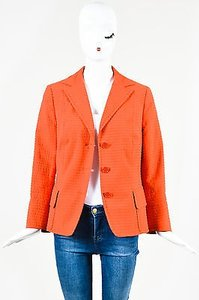 Akris Punto Akris Punto Orange Textured Stripe Button Up Long Sleeve Blazer Jacket