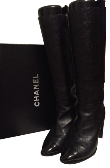 Preload https://img-static.tradesy.com/item/1847495/chanel-black-leather-knee-high-with-patent-toe-cap-bootsbooties-size-us-75-regular-m-b-0-0-540-540.jpg