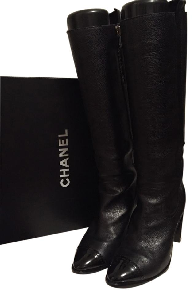 c0563318499a Chanel Black Leather Knee High with Patent Toe Cap Boots Booties ...