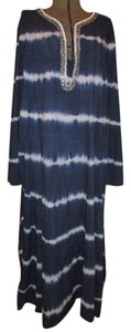 navy & white Maxi Dress by Soft Surroundings Cotton Sequins Faux Pearl Beads Tie Dye