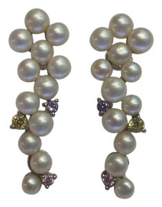Other Vine Shaped Earrings 4.5mm Cultured Pearls Cubic Zirconia 925 Silver