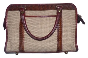 Brahmin Lots Of Pockets/room Mint Condition Brass Hardware Woven Accents Satchel in brown leather and ivory canvas