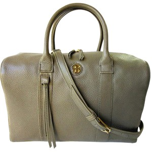 Tory Burch Brody Leather Tassels Satchel in Porcini (Gray)