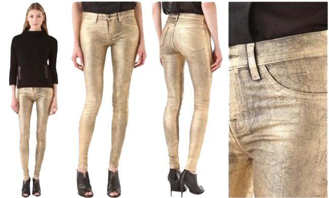 Item - Gold Coated Super Mid Rise Skinny Jeans Size 30 (6, M)