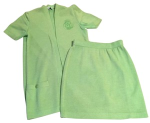 St. John St John Collection by Marie Gray Lime Green Jacket and Skirt - Small
