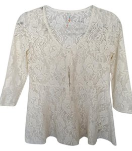 Free People Lace Flower Peplum Shirt Top cream with hints of gold metallic