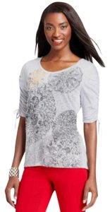 Style & Co Studded Foiled Print Top Gray
