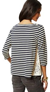 Anthropologie Lace Inserts Striped Swingy T Shirt Blue White