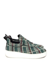 Céline Love Life Multicolor Plaid Tweed Platform Slip-on Sneakers Green Flats