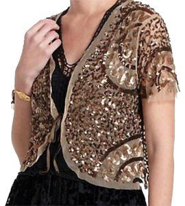 Anthropologie Shimmering Sparkles Tie Closure Short Sleeves Dress Up Or Down Top Bronze