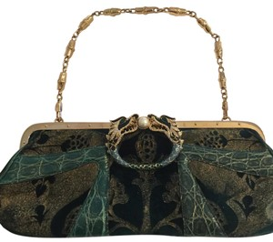 Gucci Teal Blue And Gold Clutch