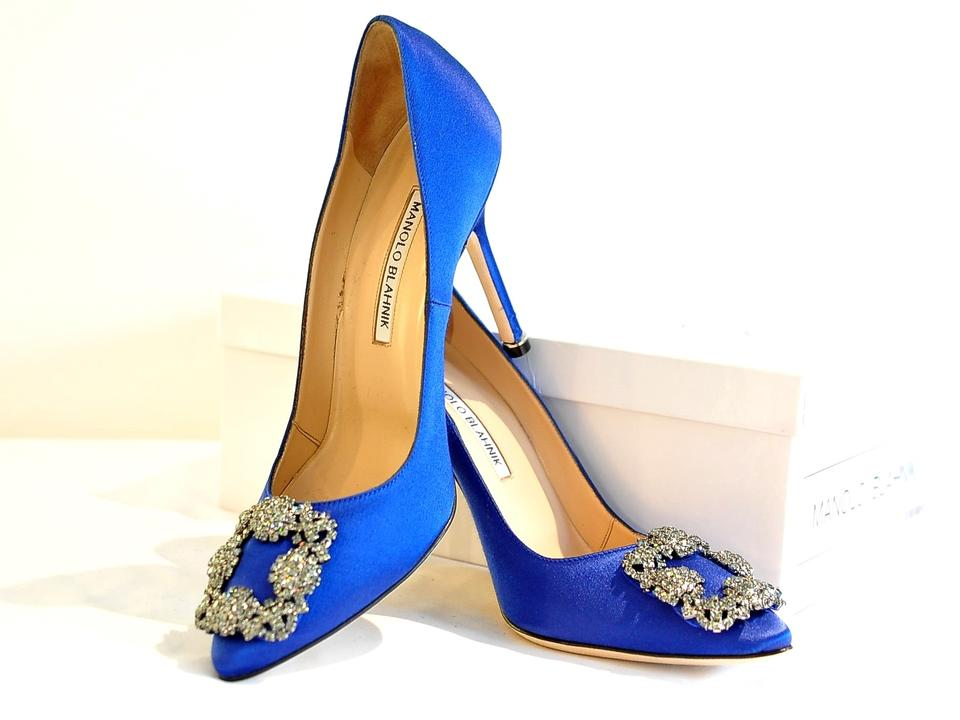 ad222778e327 Manolo Blahnik Blue New Hangisi Jeweled Satin 37 Pumps Size US 7 ...