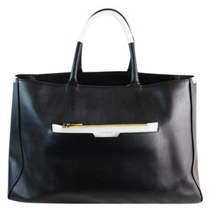 Furla Leather Colorblock Tote in Black/White