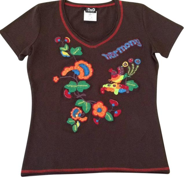 Item - Brown Embroidered Tee Shirt Size 8 (M)