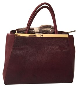 Halston Sathel Fur Red Gold Tote in Sangria