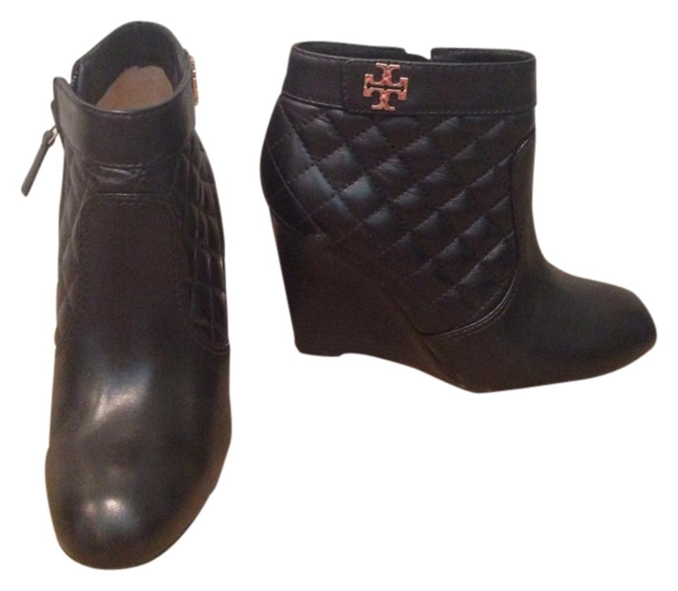 908954ea4 Tory Burch Black Leila Quilted Wedge Boots Booties Size US 8 Regular ...