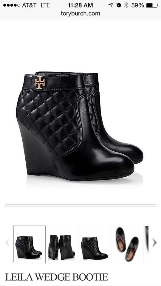 a9b7ab23c1b Tory Burch Black Leila Quilted Wedge Boots Booties Size US 8 Regular ...