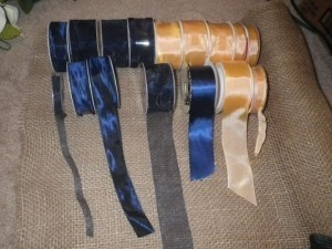 Peach and Navy Blue Assortment Ribbons Reception Decoration