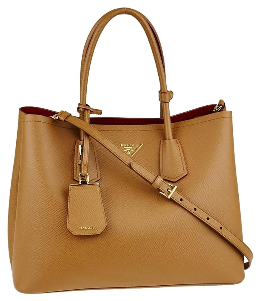 e01828bbf7b3 Prada Double New Cuir Large Satchel Bicolor Camel Leather Saffiano Tote