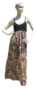 black gold pink Maxi Dress by M Missoni Sexy Crochet Top Flowing Silk Skirt Floral Metallic Shimmery